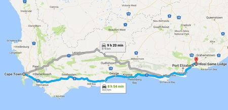 Cape Town To Hlosi Map Min